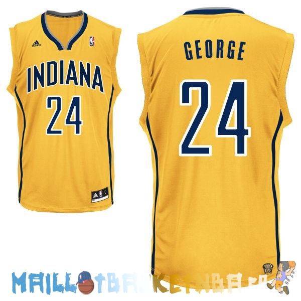 Maillot NBA Indiana Pacers NO.24 Paul George Jaune Pas Cher