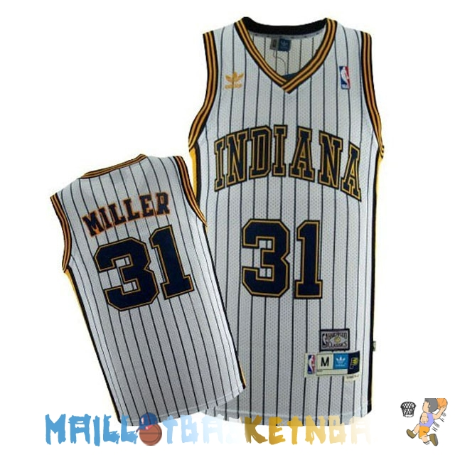 Maillot NBA Indiana Pacers NO.31 Reggie Miller Blanc Bande Pas Cher