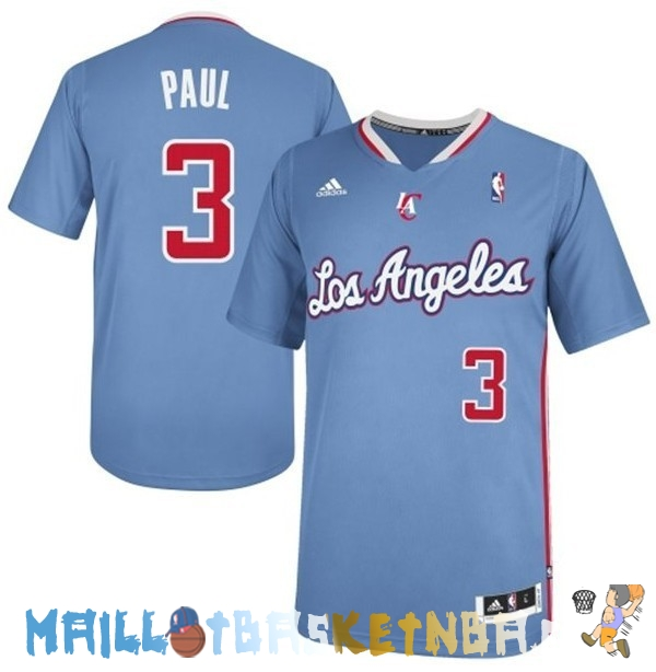 Maillot NBA L.A.Clippers Manche Courte NO.3 Chris Paul Bleu Pas Cher