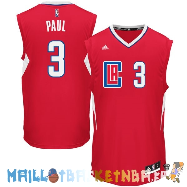 Maillot NBA L.A.Clippers NO.3 Chris Paul Rouge Pas Cher