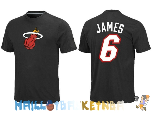 Maillot NBA Miami Heat James 6 Noir Pas Cher