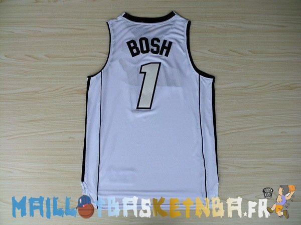 Maillot NBA Miami Heat NO.1 Chris Bosh Blanc Pas Cher