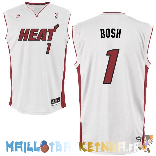 Maillot NBA Miami Heat NO.1 Chris Bosh Blanc Rouge Pas Cher