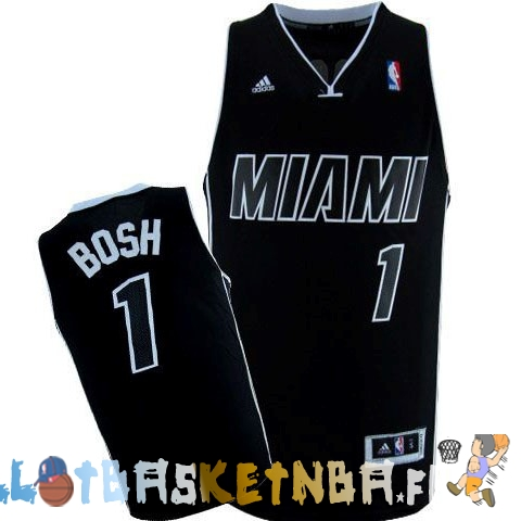 Maillot NBA Miami Heat NO.1 Chris Bosh Noir Pas Cher