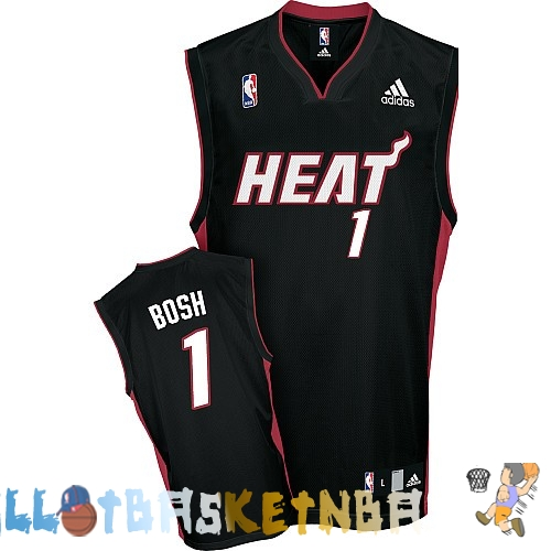 Maillot NBA Miami Heat NO.1 Chris Bosh Noir Rouge Pas Cher