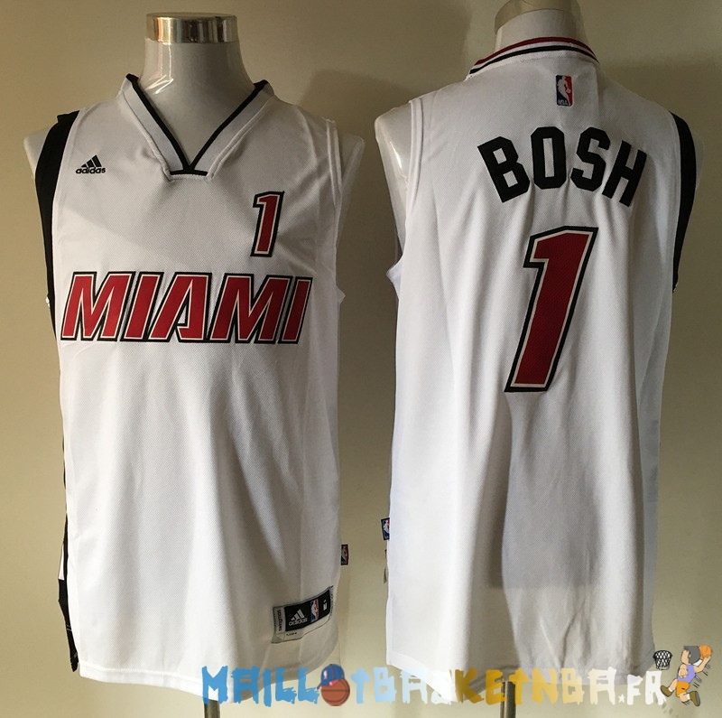 Maillot NBA Miami Heat NO.1 Chris Bosh Retro Blanc Pas Cher