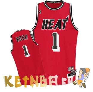 Maillot NBA Miami Heat NO.1 Chris Bosh Retro Rouge Pas Cher