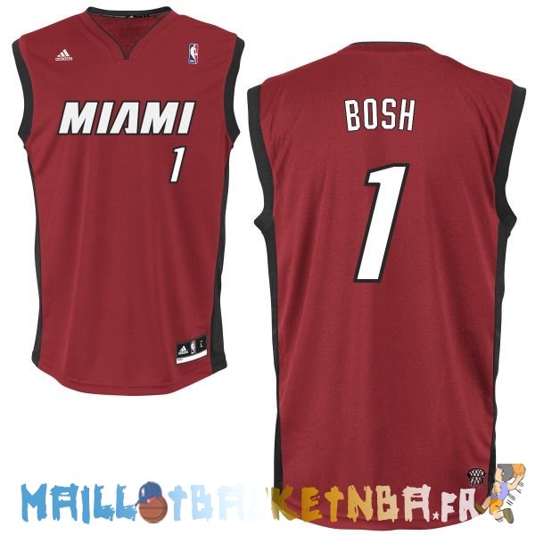 Maillot NBA Miami Heat NO.1 Chris Bosh Rouge Noir Pas Cher