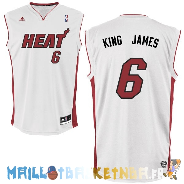 Maillot NBA Miami Heat NO.6 King James Blanc Pas Cher