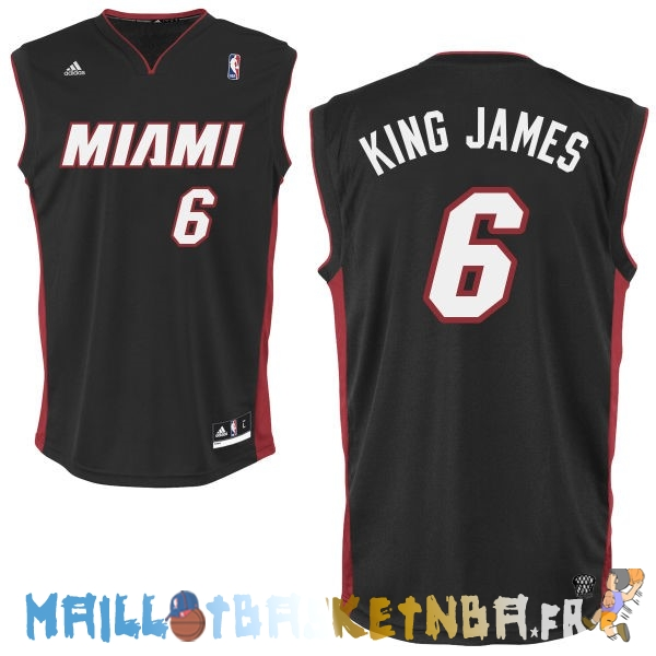 Maillot NBA Miami Heat NO.6 King James Noir Pas Cher