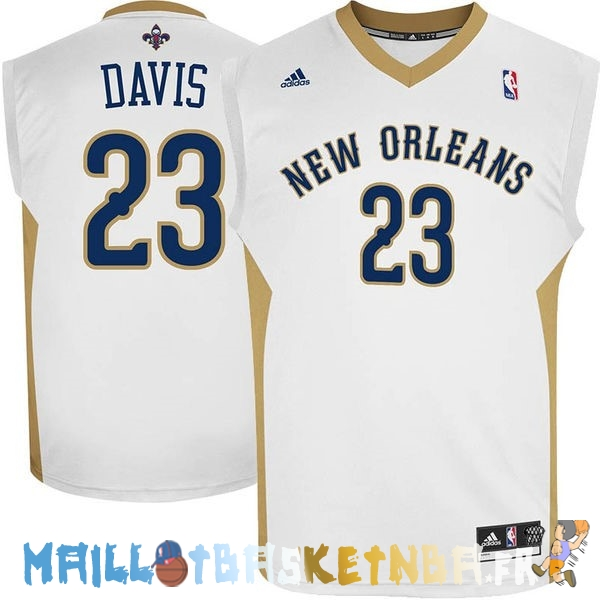 Maillot NBA New Orleans Pelicans NO.23 Anthony Davis Blanc Pas Cher
