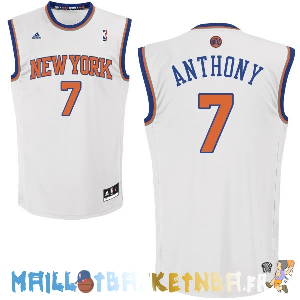 Maillot NBA New York Knicks NO.7 Carmelo Anthony Blanc Pas Cher