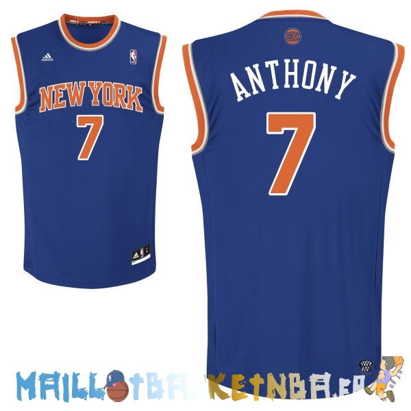 Maillot NBA New York Knicks NO.7 Carmelo Anthony Bleu Pas Cher