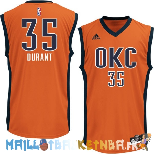Maillot NBA Oklahoma City Thunder NO.35 Kevin Durant Orange Pas Cher