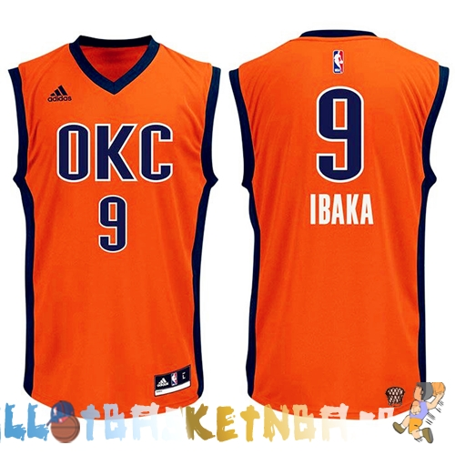 Maillot NBA Oklahoma City Thunder NO.9 Serge Ibaka Orange Pas Cher
