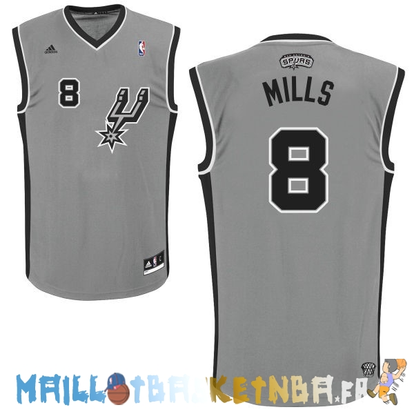 Maillot NBA San Antonio Spurs NO.8 Patty Mills Gris Pas Cher