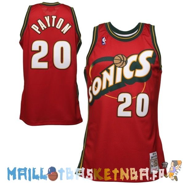 Maillot NBA Seattle Supersonics NO.20 Gary Payton Retro Rouge Pas Cher