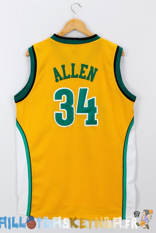 Maillot NBA Seattle Supersonics NO.34 Ray Allen Jaune Pas Cher
