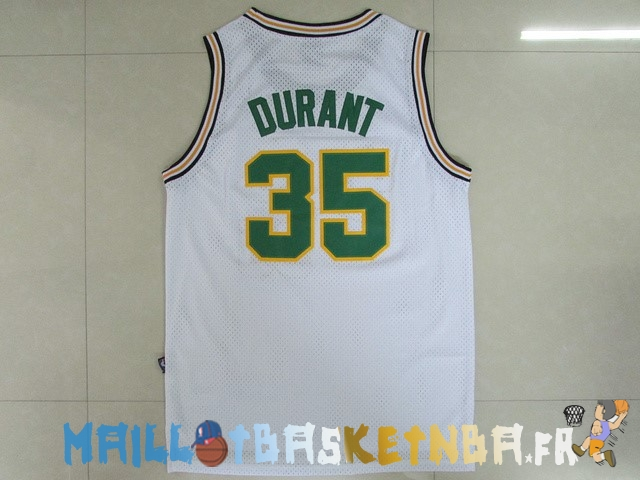 Maillot NBA Seattle Supersonics NO.35 Kevin Durant Retro Blanc Pas Cher