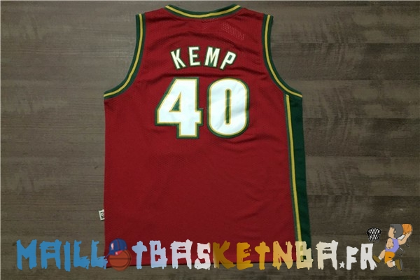 Maillot NBA Seattle Supersonics NO.40 Shawn Kemp Retro Rouge Pas Cher