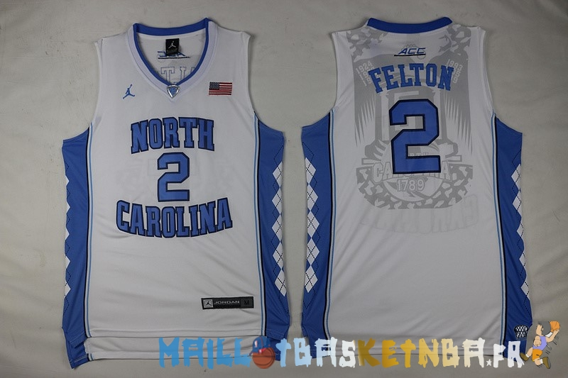 Maillot NCAA North Carolina NO.2 Raymond Felton Blanc Pas Cher