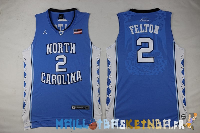 Maillot NCAA North Carolina NO.2 Raymond Felton Bleu Pas Cher